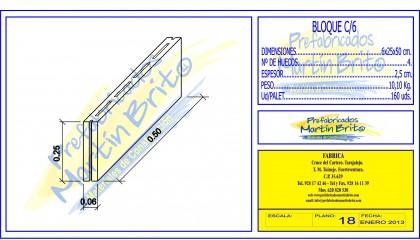 Ud. Bloque Macizo H.V. 6 cm.