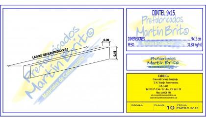 Ml. Dintel Prefabricado 9 x 15 cm.