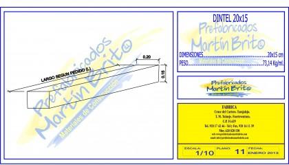 Ml. Dintel Prefabricado 20 x 15 cm.