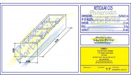 Bloque Reticular – 25 x 70 x 23