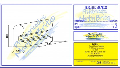 Ud. Bordillo Bolardo – 38 x 19 x 50 cm.