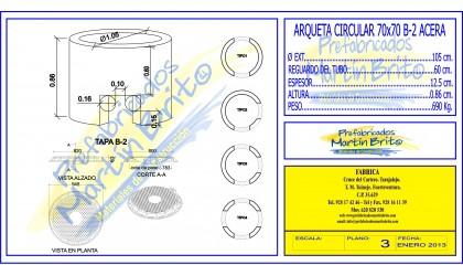 Ud. Arqueta Pref UNELCO – circular Acera, – 70×70 B – 2,h 1,00m.