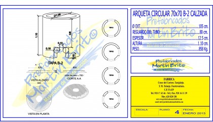 Ud. Arqueta Pref UNELCO – circular calzada,- 70×70 B – 2,, h 1,20m.