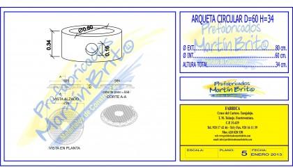 Ud. Arqueta Prefabricada – circular Ø 60, h 0,34m.